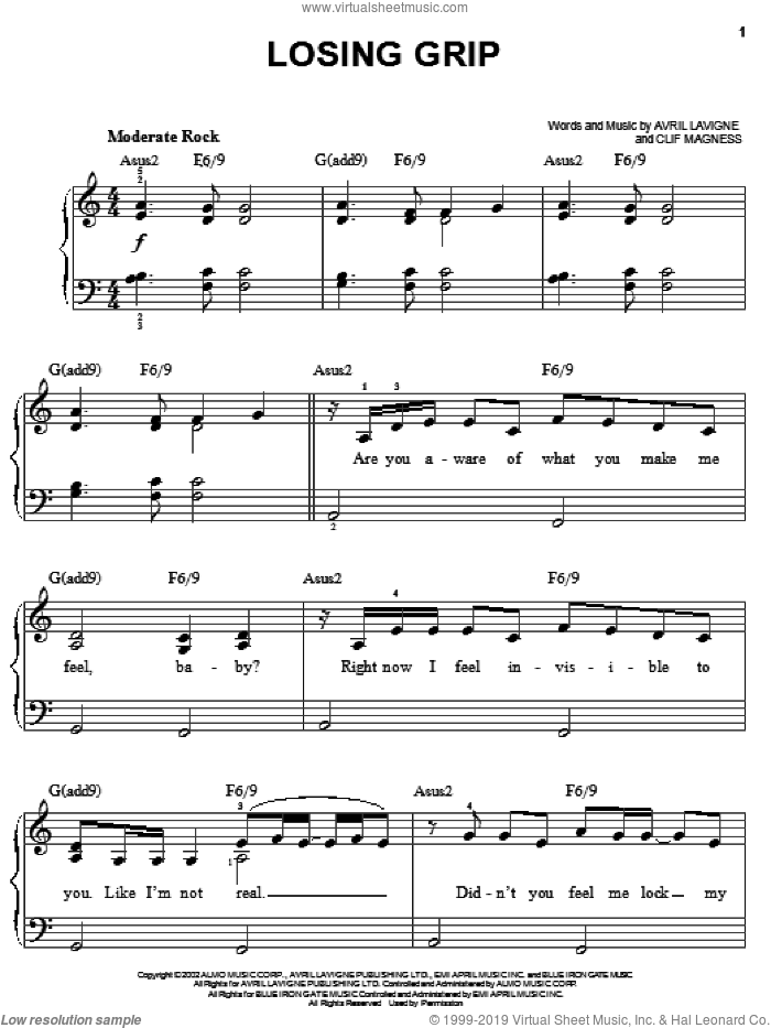 Losing Grip sheet music for piano solo by Avril Lavigne and Clif Magness, easy skill level