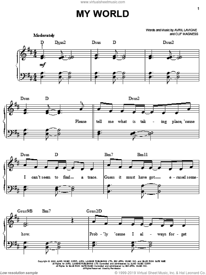 My World sheet music for piano solo by Avril Lavigne and Clif Magness, easy skill level