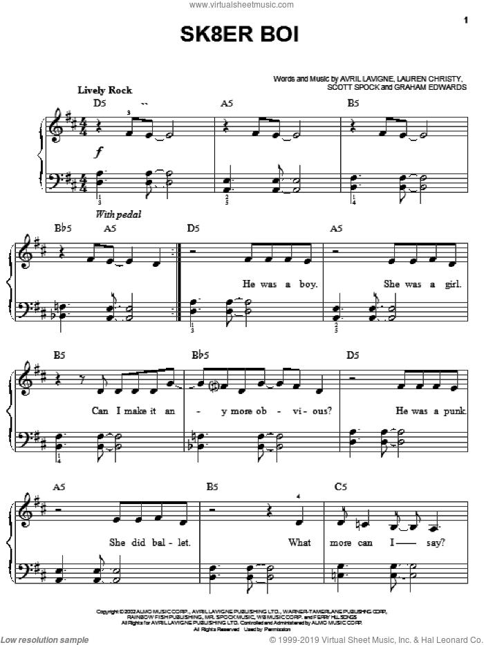 Sk8er Boi sheet music for piano solo by Avril Lavigne, Lauren Christy and Scott Spock, easy skill level