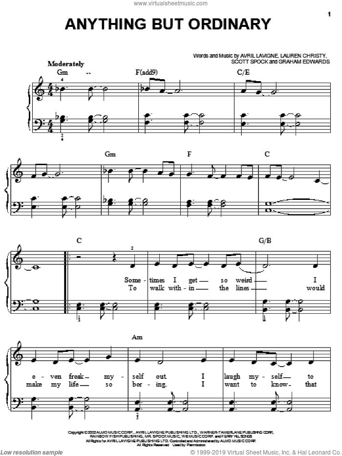 Anything But Ordinary sheet music for piano solo by Scott Spock, Avril Lavigne and Lauren Christy. Score Image Preview.