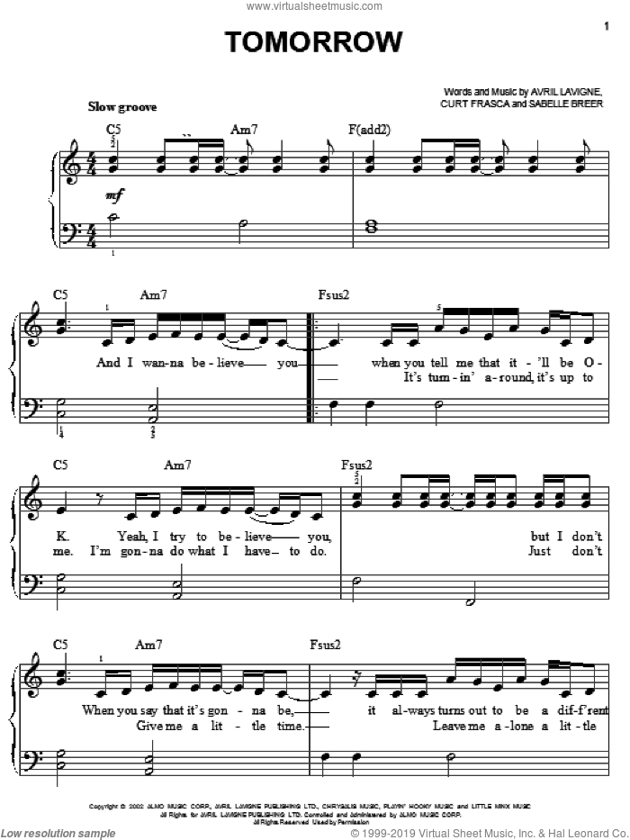 Tomorrow sheet music for piano solo by Avril Lavigne, easy. Score Image Preview.