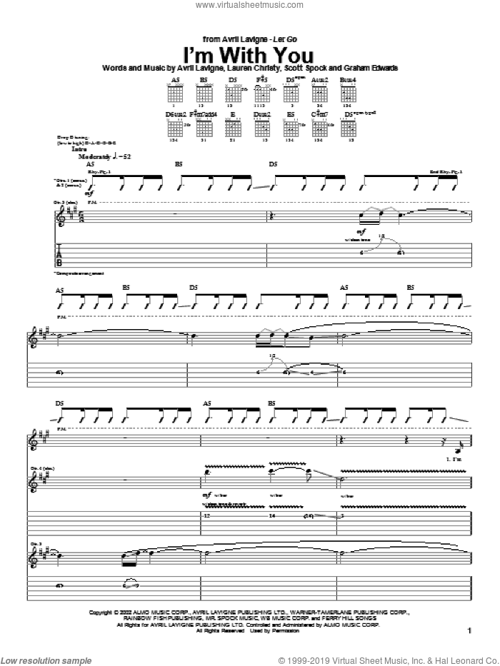 I'm With You sheet music for guitar (tablature) by Avril Lavigne, intermediate guitar (tablature). Score Image Preview.