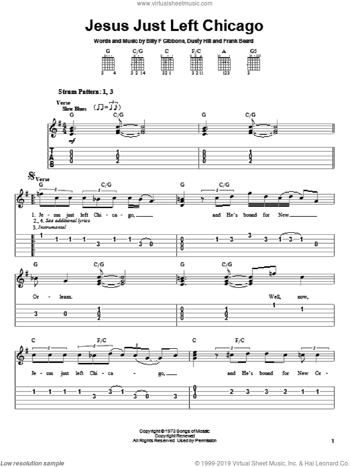 Jesus Just Left Chicago sheet music for guitar solo (easy tablature) by ZZ Top, Billy Gibbons, Dusty Hill and Frank Beard, easy guitar (easy tablature)
