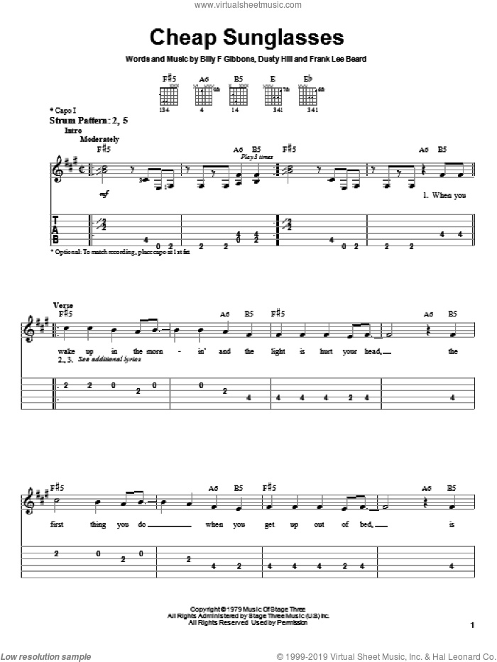 Cheap Sunglasses sheet music for guitar solo (easy tablature) by Frank Beard, ZZ Top, Billy Gibbons and Dusty Hill. Score Image Preview.