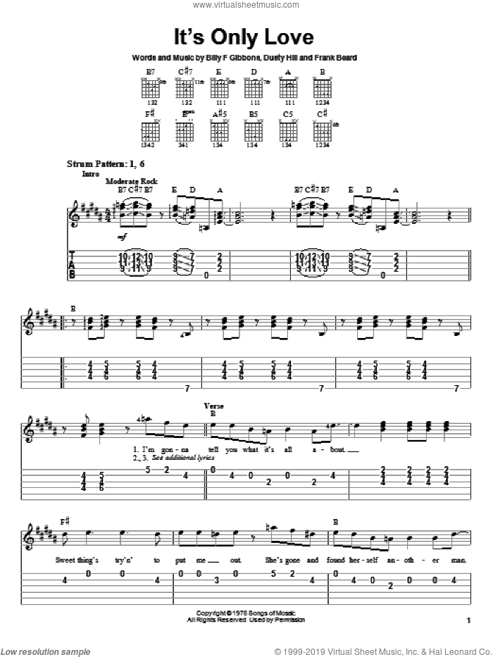 It's Only Love sheet music for guitar solo (easy tablature) by Frank Beard, ZZ Top, Billy Gibbons and Dusty Hill. Score Image Preview.