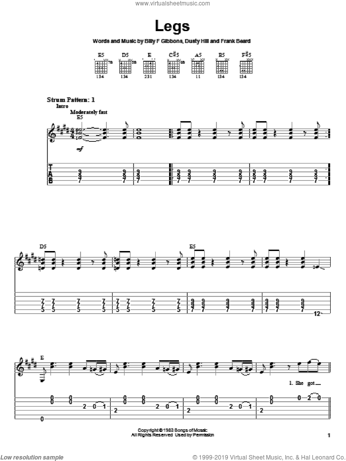 Legs sheet music for guitar solo (easy tablature) by ZZ Top, Billy Gibbons, Dusty Hill and Frank Beard, easy guitar (easy tablature)