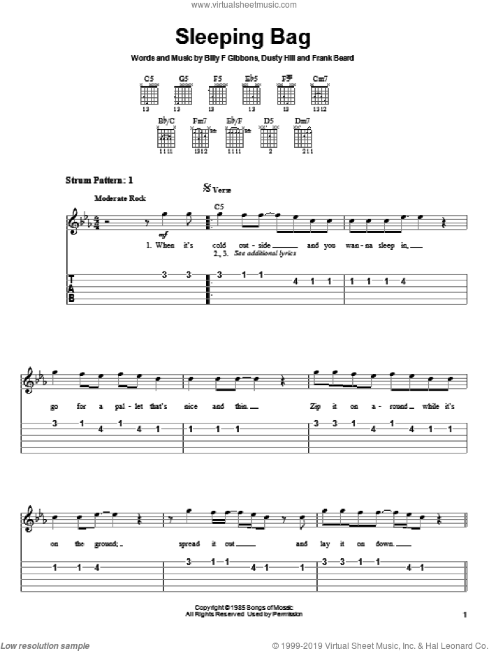 Sleeping Bag sheet music for guitar solo (easy tablature) by ZZ Top, Billy Gibbons, Dusty Hill and Frank Beard, easy guitar (easy tablature)