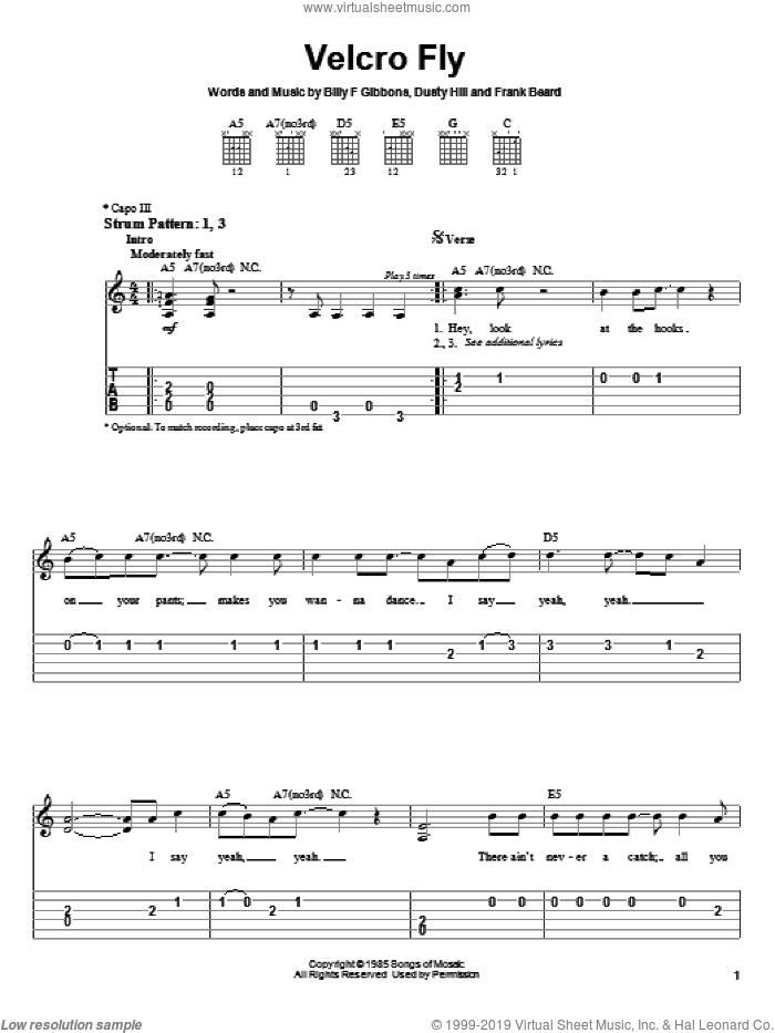 Velcro Fly sheet music for guitar solo (easy tablature) by ZZ Top, Billy Gibbons, Dusty Hill and Frank Beard, easy guitar (easy tablature)