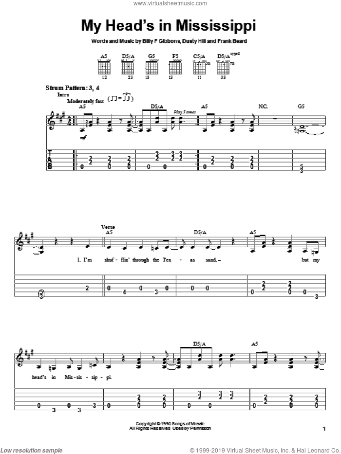My Head's In Mississippi sheet music for guitar solo (easy tablature) by Frank Beard, ZZ Top, Billy Gibbons and Dusty Hill. Score Image Preview.