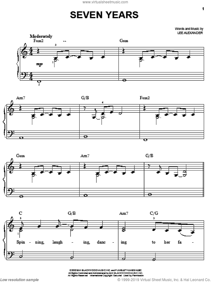 Seven Years sheet music for piano solo by Norah Jones. Score Image Preview.