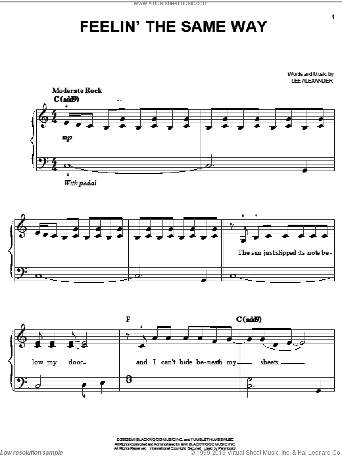 Feelin' The Same Way sheet music for piano solo by Norah Jones, easy. Score Image Preview.