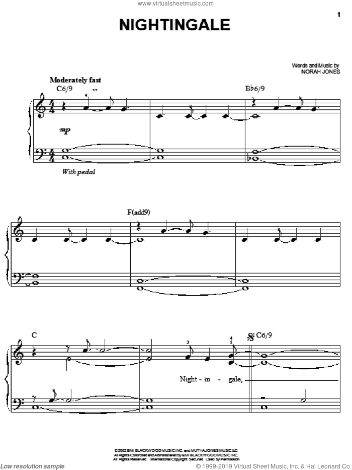 Nightingale sheet music for piano solo by Norah Jones, easy skill level