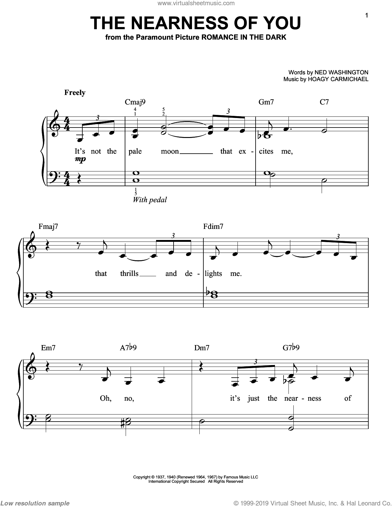 The Nearness Of You sheet music for piano solo by Norah Jones, Hoagy Carmichael and Ned Washington, easy skill level