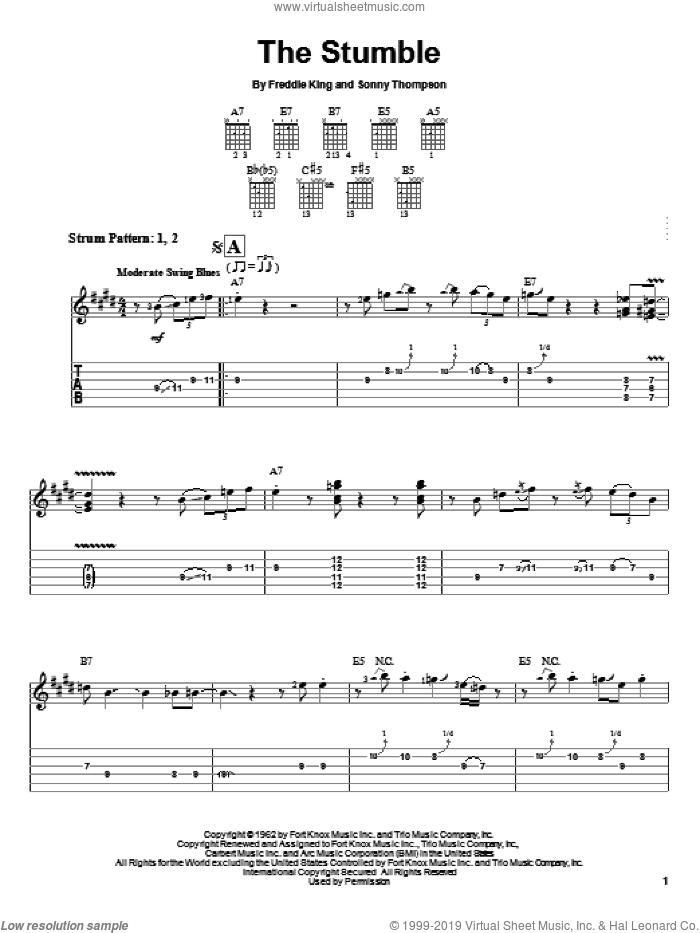 The Stumble sheet music for guitar solo (easy tablature) by Freddie King and Sonny Thompson, easy guitar (easy tablature)