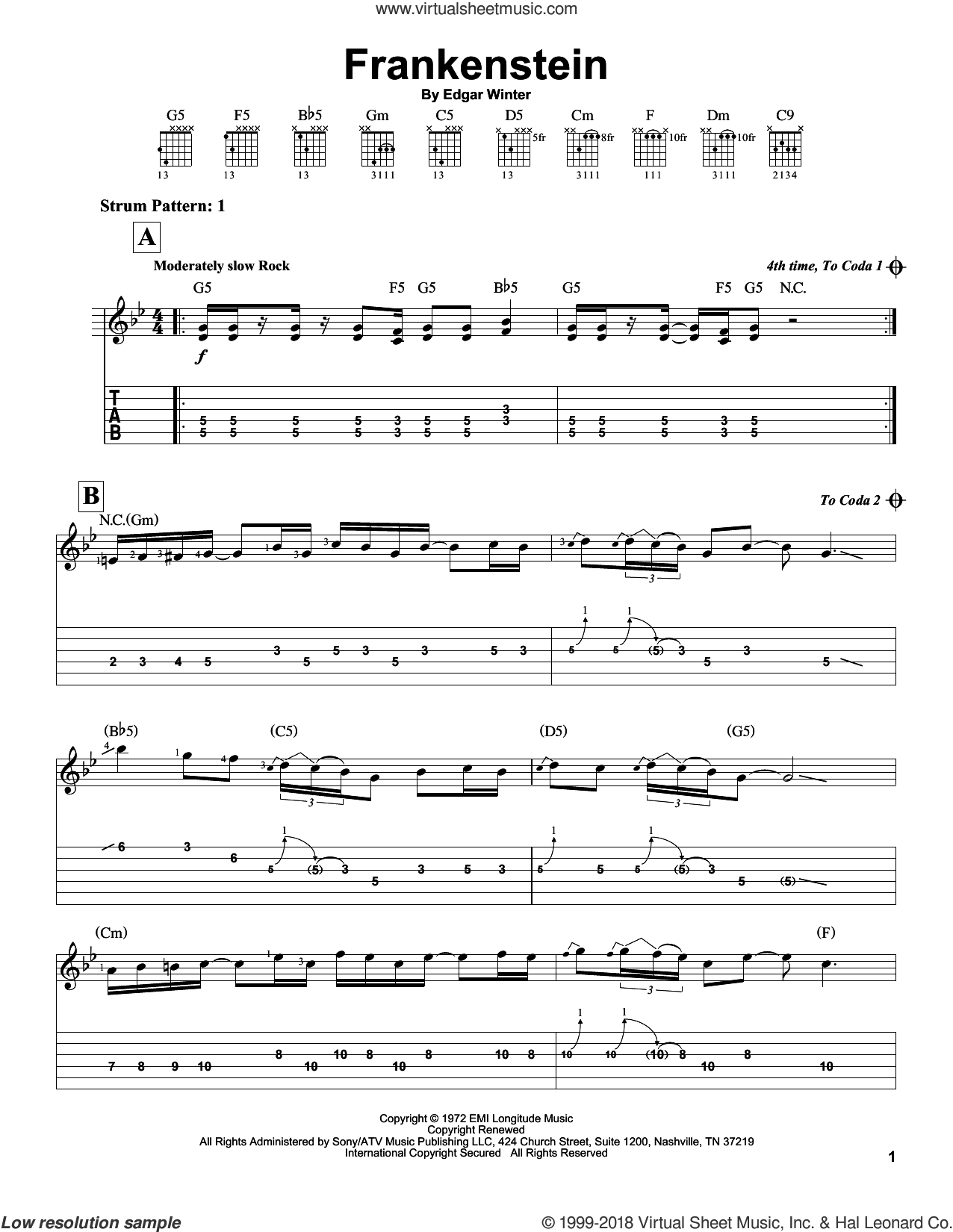 Frankenstein sheet music for guitar solo (easy tablature) by Edgar Winter and Edgar Winter Group. Score Image Preview.
