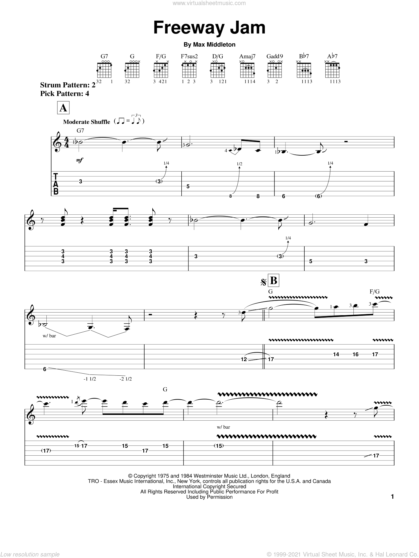 Freeway Jam sheet music for guitar solo (easy tablature) by Jeff Beck and Max Middleton, easy guitar (easy tablature)