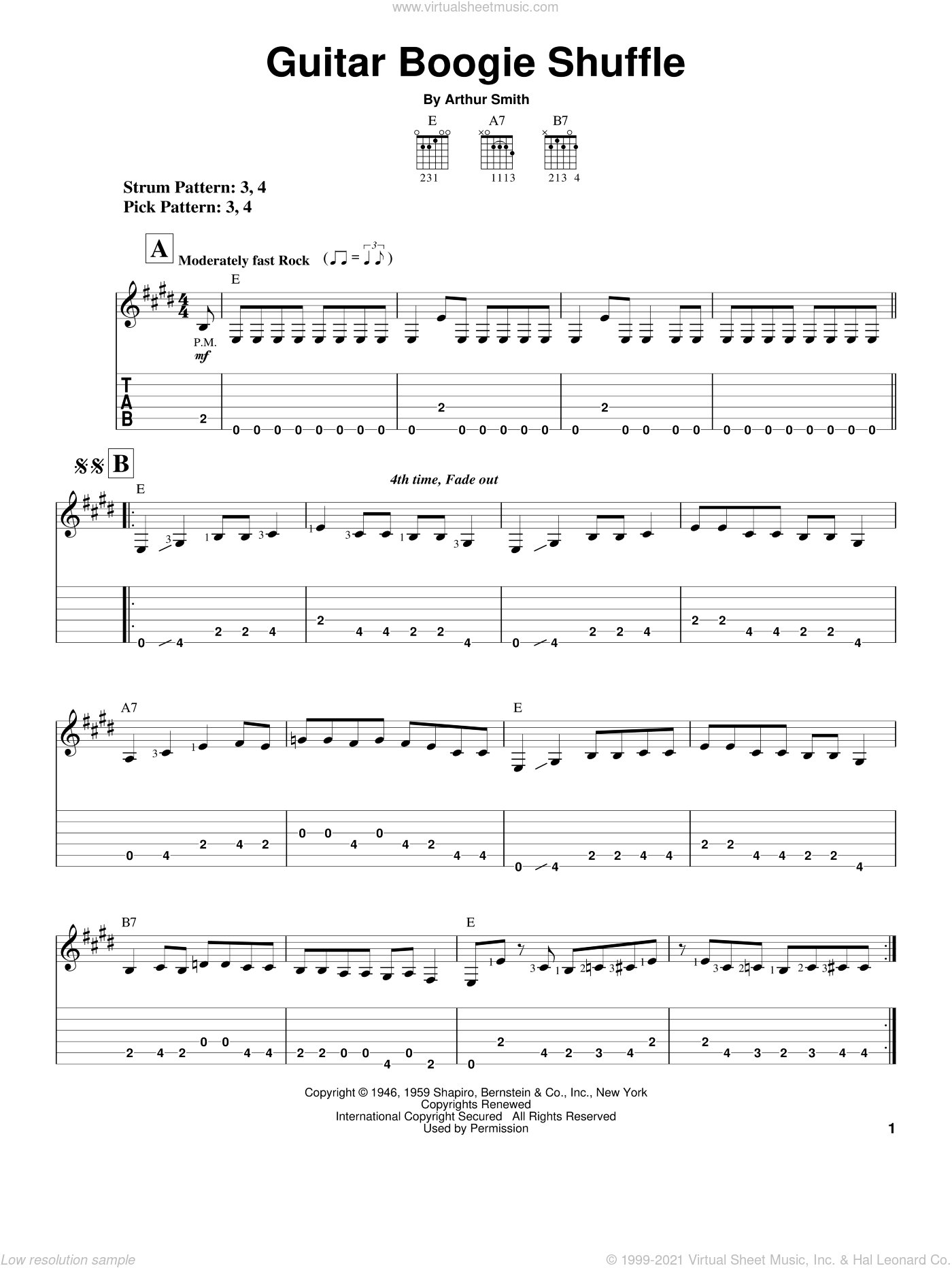 Guitar Boogie Shuffle sheet music for guitar solo (easy tablature) by Arthur Smith and The Ventures. Score Image Preview.
