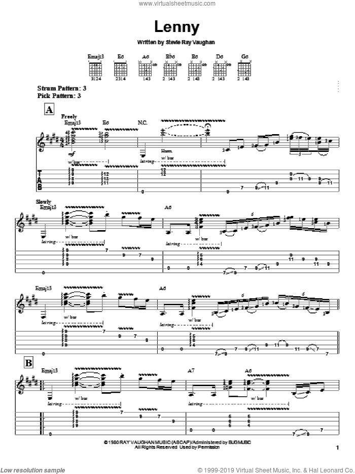 Lenny sheet music for guitar solo (easy tablature) by Stevie Ray Vaughan. Score Image Preview.