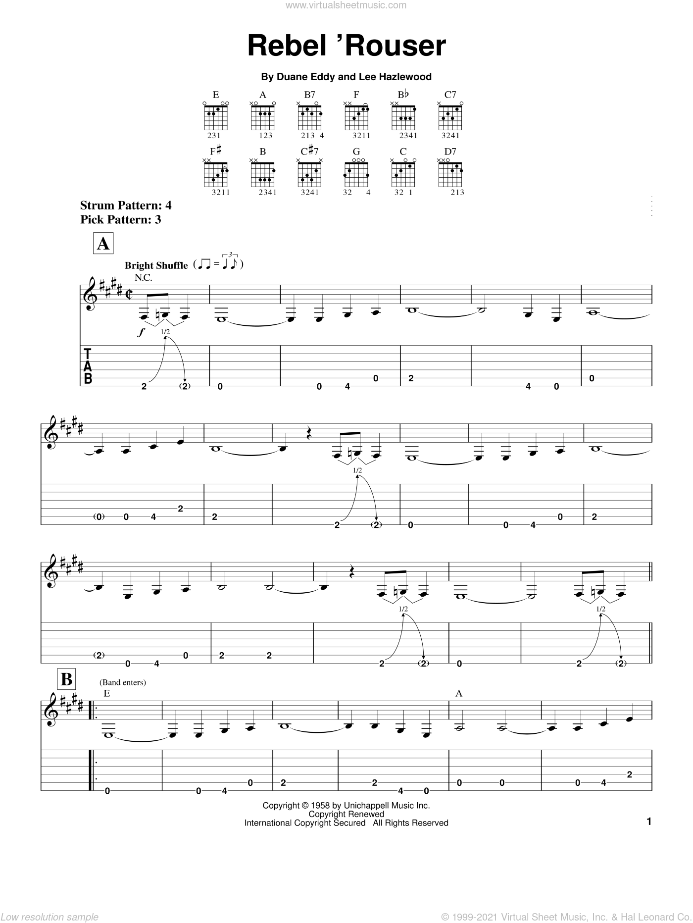 Rebel 'Rouser sheet music for guitar solo (easy tablature) by Duane Eddy and Lee Hazlewood, easy guitar (easy tablature)