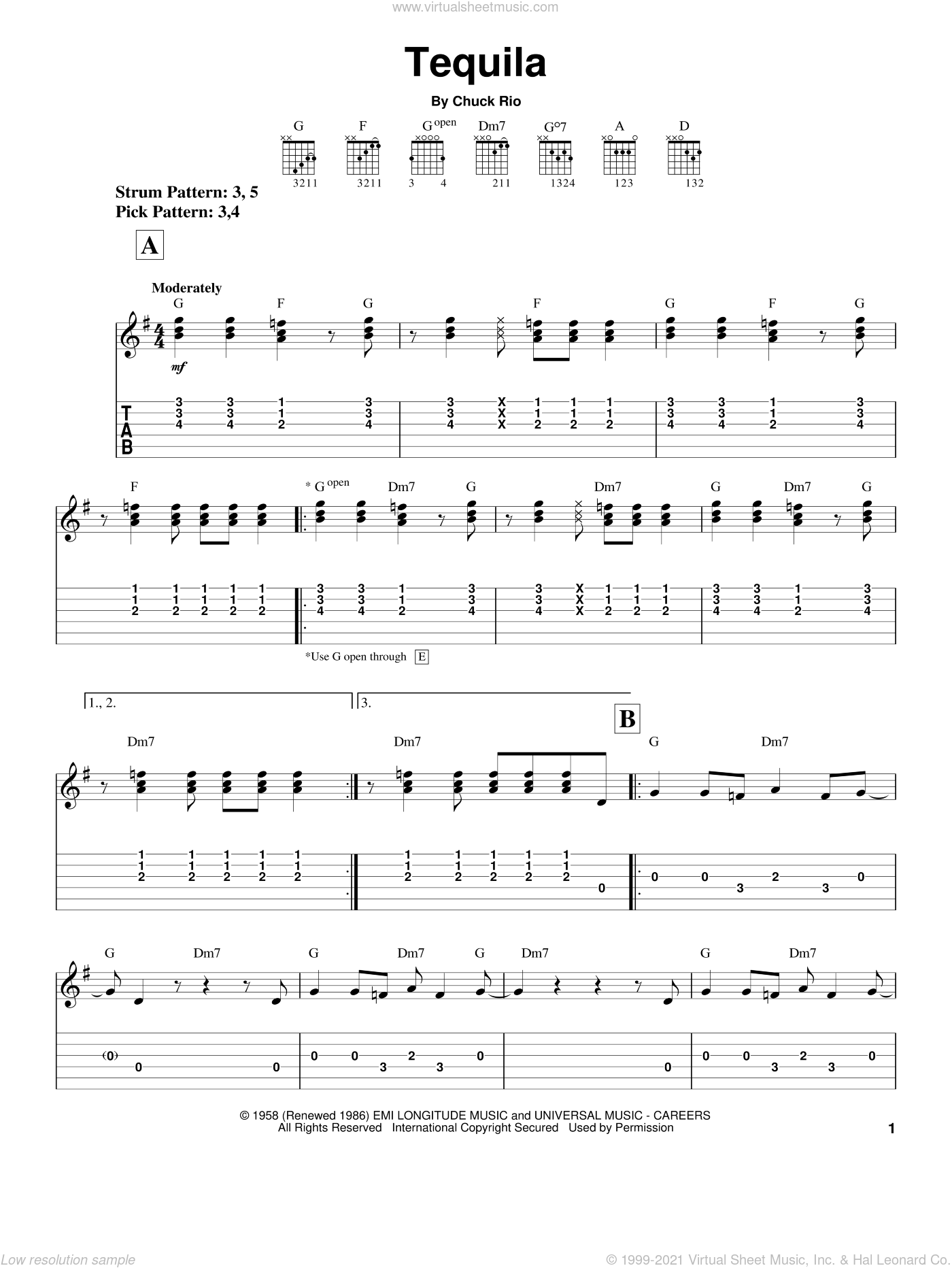 Tequila sheet music for guitar solo (easy tablature) by Chuck Rio. Score Image Preview.