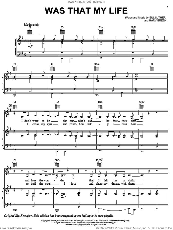 Was That My Life sheet music for voice, piano or guitar by Marv Green, Jo Dee Messina and Bill Luther. Score Image Preview.