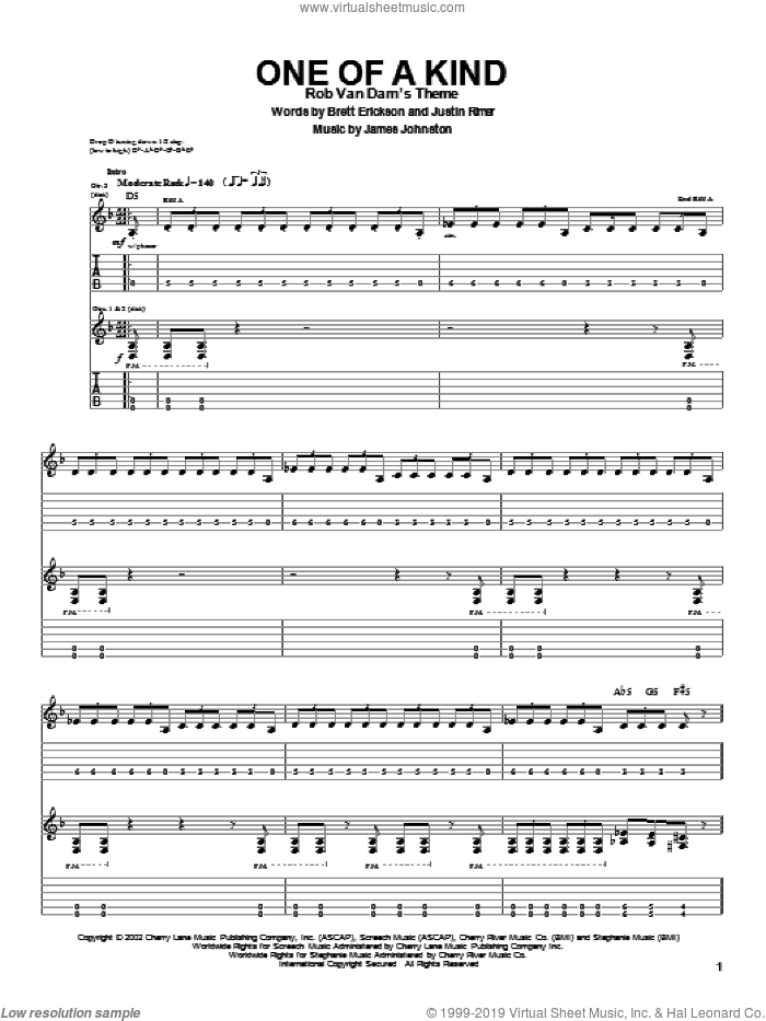 One Of A Kind sheet music for guitar (tablature) by Justin Rimer