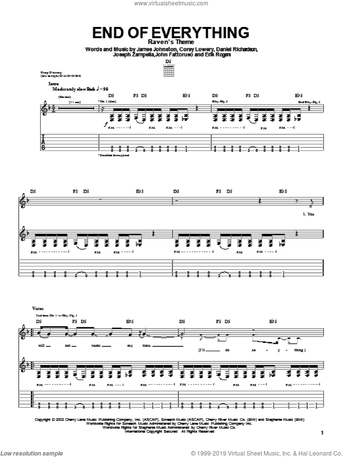 End Of Everything sheet music for guitar (tablature) by Stereomud, intermediate guitar (tablature). Score Image Preview.