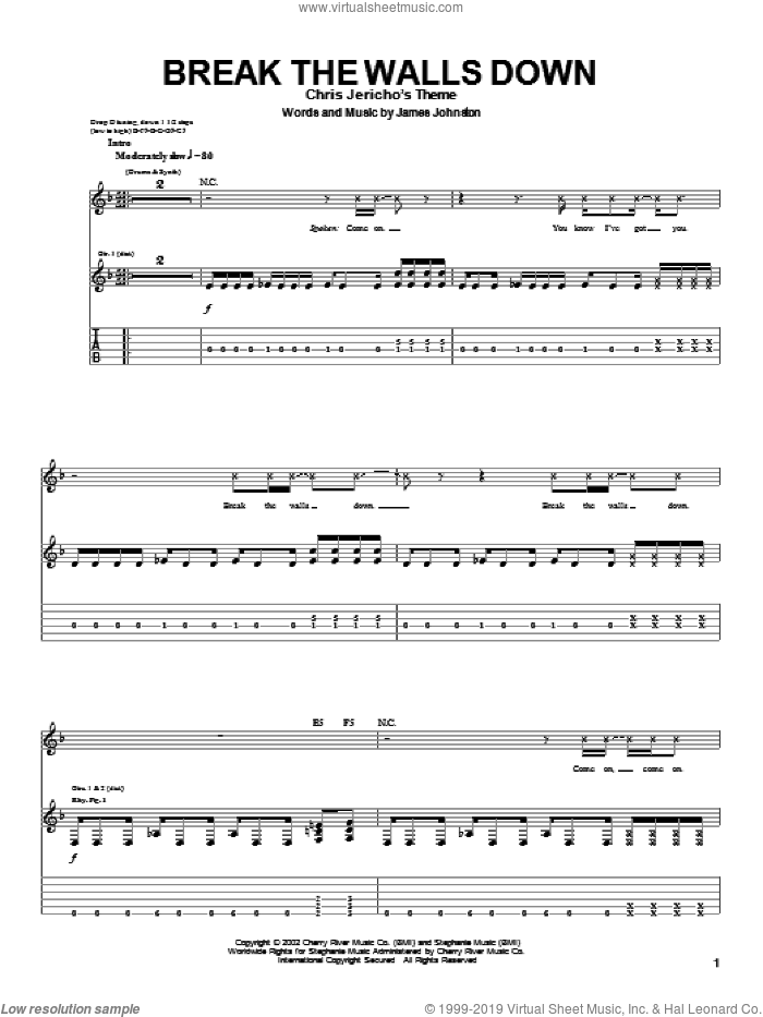Break The Walls Down sheet music for guitar (tablature) by Sevendust and James Johnston, intermediate. Score Image Preview.