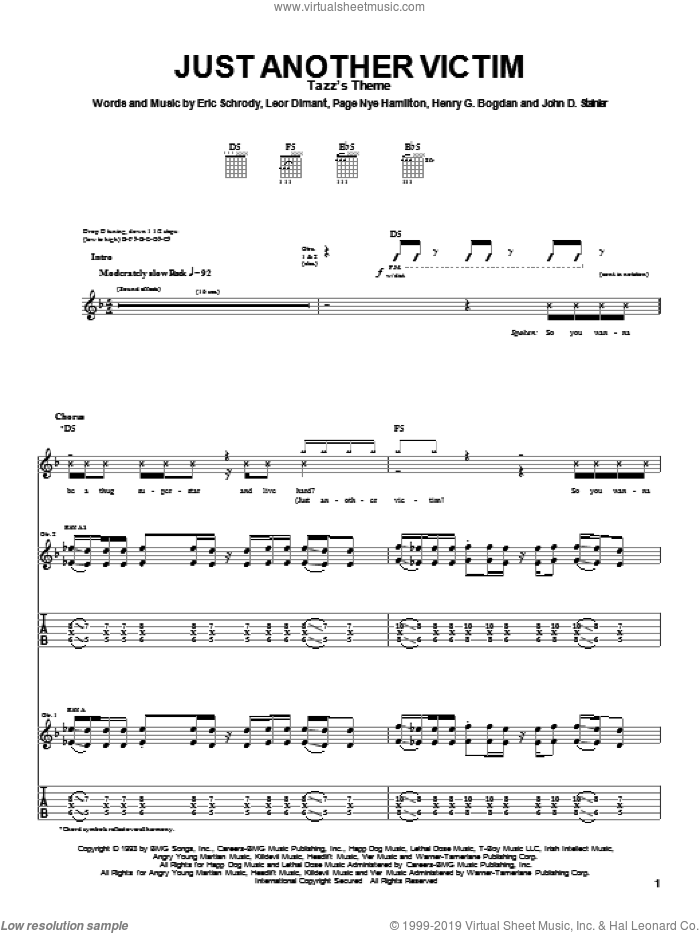 Just Another Victim sheet music for guitar (tablature) by Page Nye Hamilton