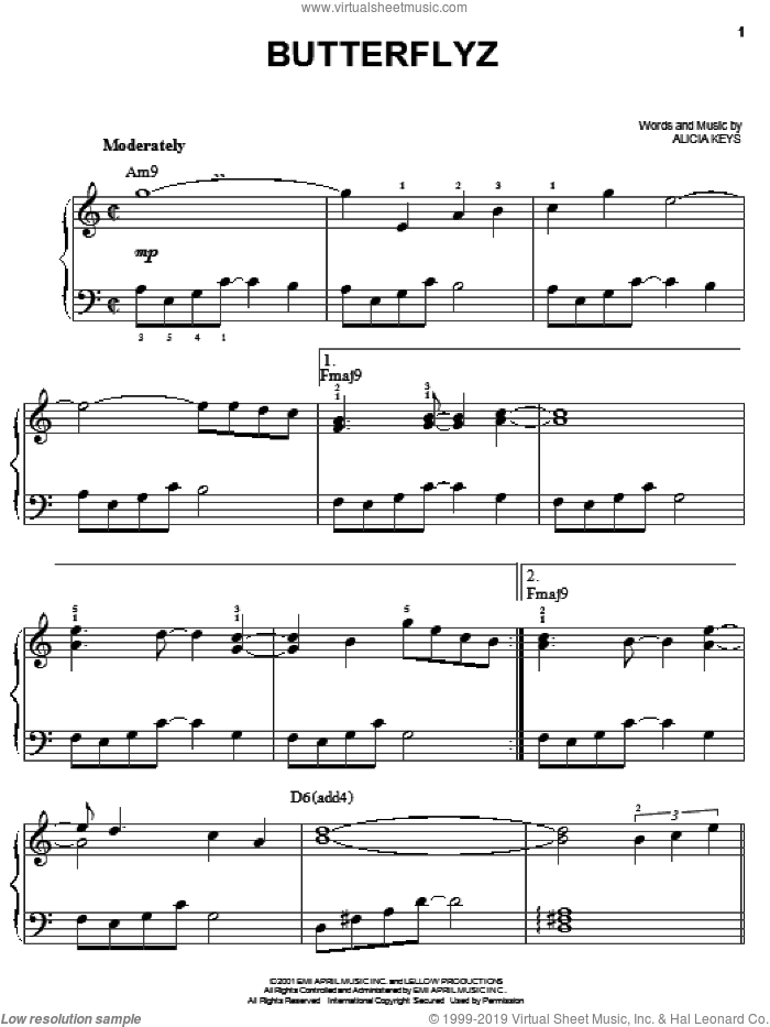 Butterflyz sheet music for piano solo by Alicia Keys, easy skill level