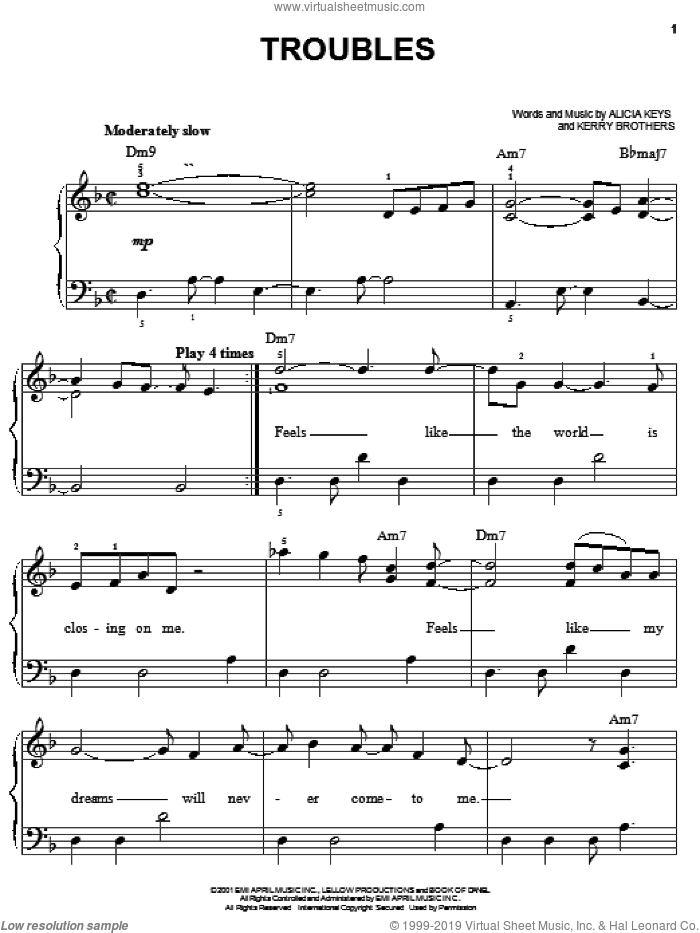 Troubles sheet music for piano solo by Alicia Keys and Kerry Brothers, easy skill level