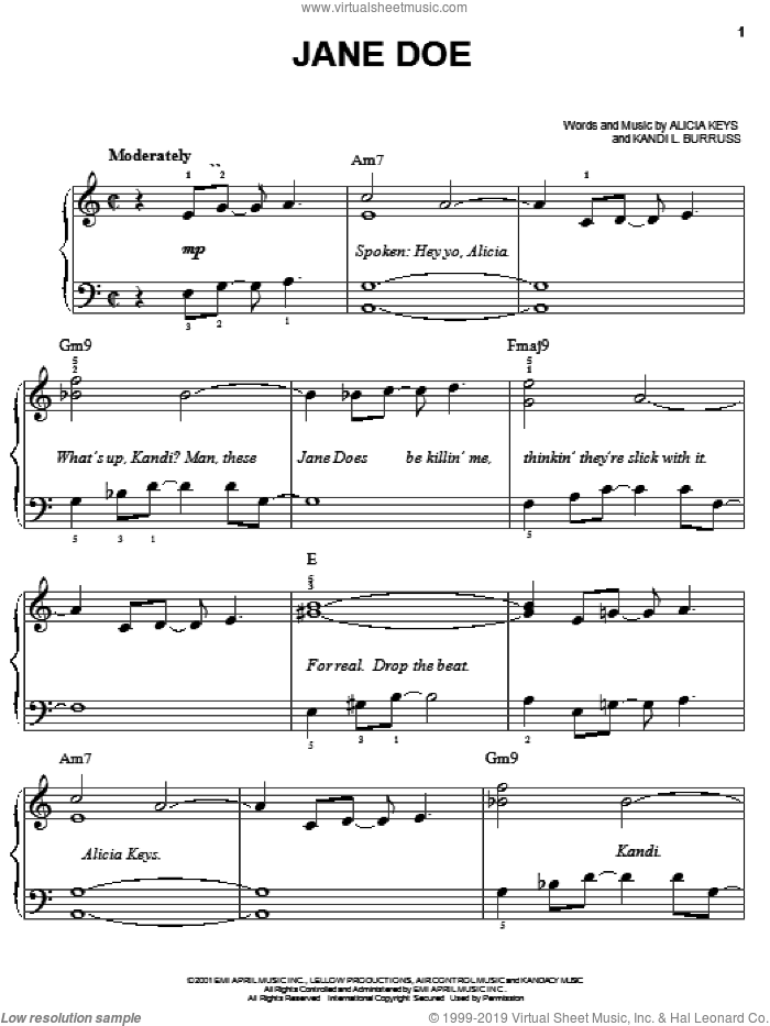 Jane Doe sheet music for piano solo by Alicia Keys and Kandi L. Burruss, easy. Score Image Preview.