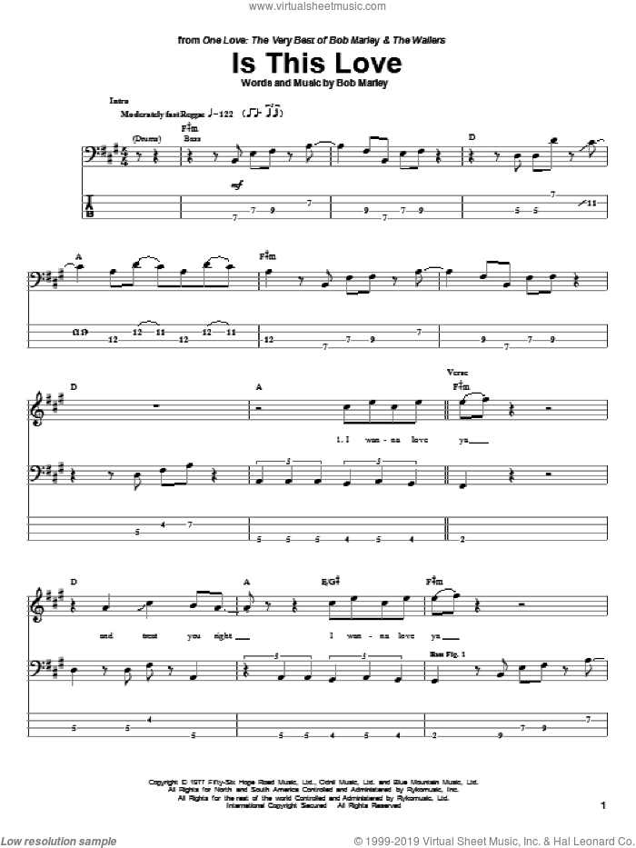 Marley Is This Love Sheet Music For Bass Tablature Bass Guitar