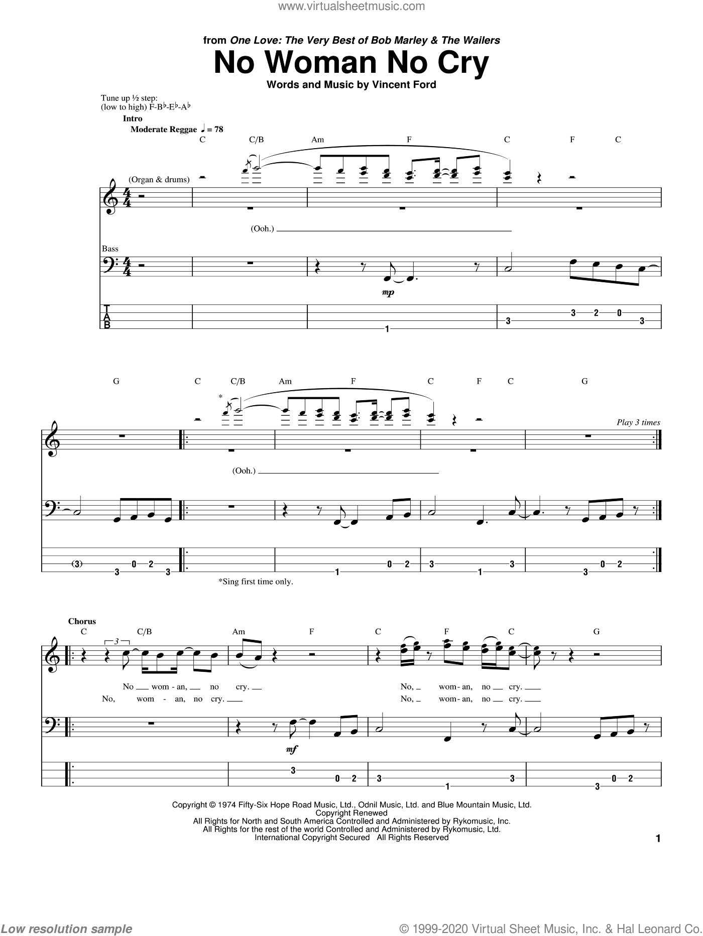 No Woman No Cry sheet music for bass (tablature) (bass guitar) by Bob Marley and Vincent Ford, intermediate skill level