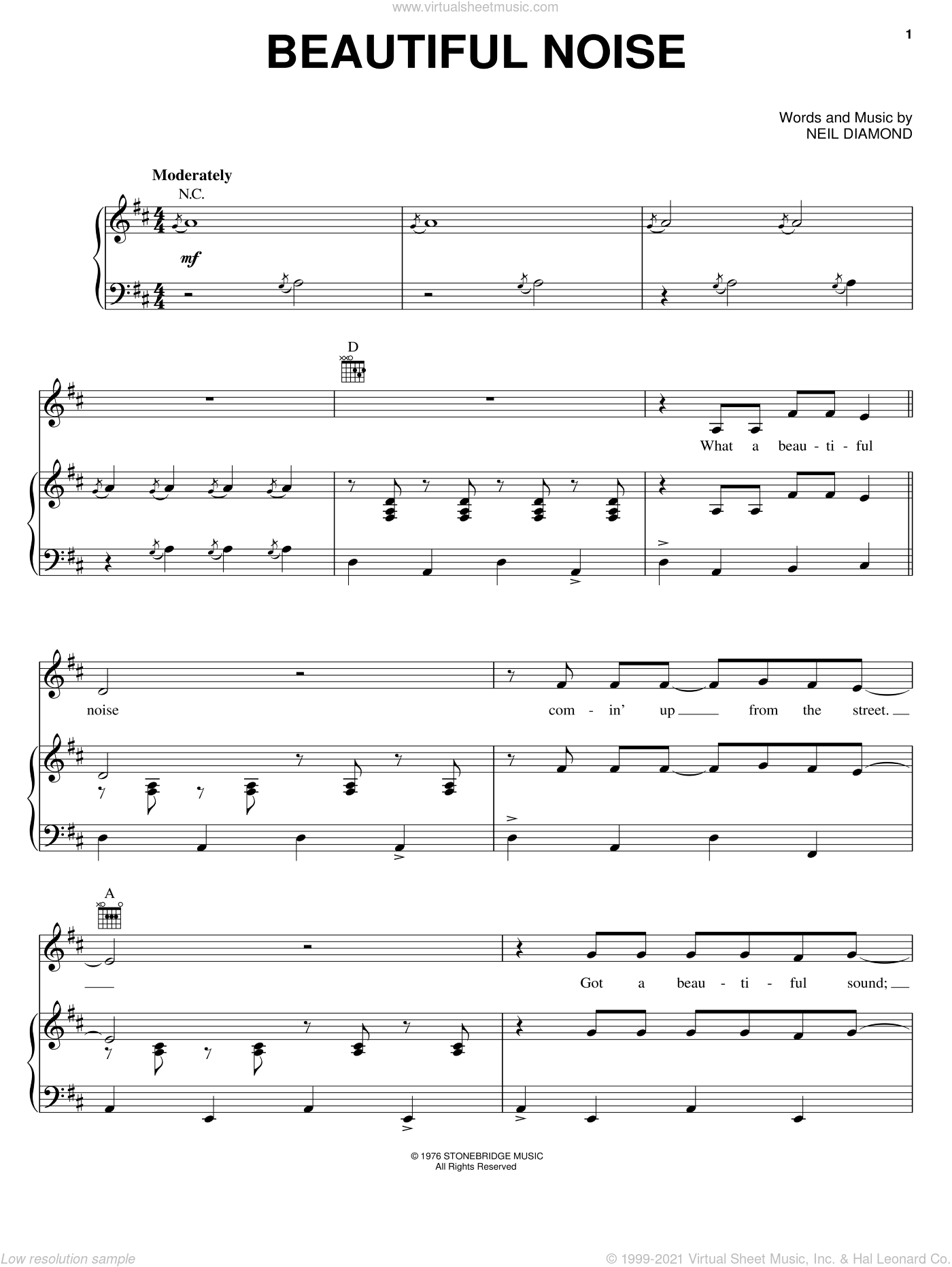 Beautiful Noise sheet music for voice, piano or guitar by Neil Diamond. Score Image Preview.