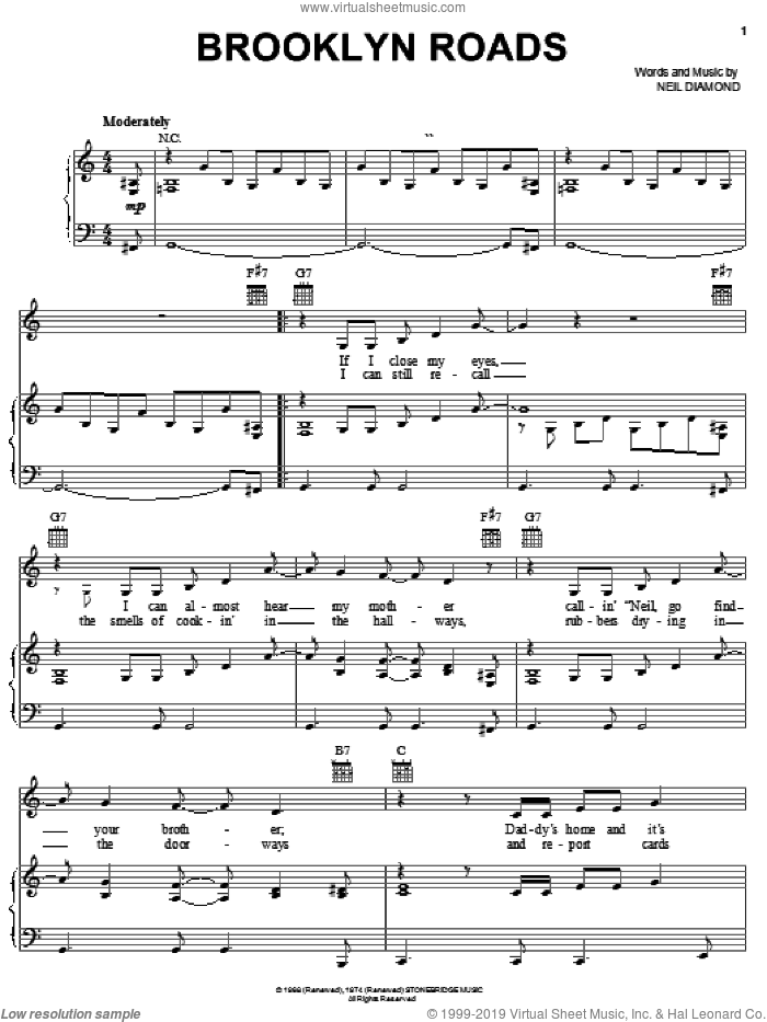 Brooklyn Roads sheet music for voice, piano or guitar by Neil Diamond, intermediate skill level