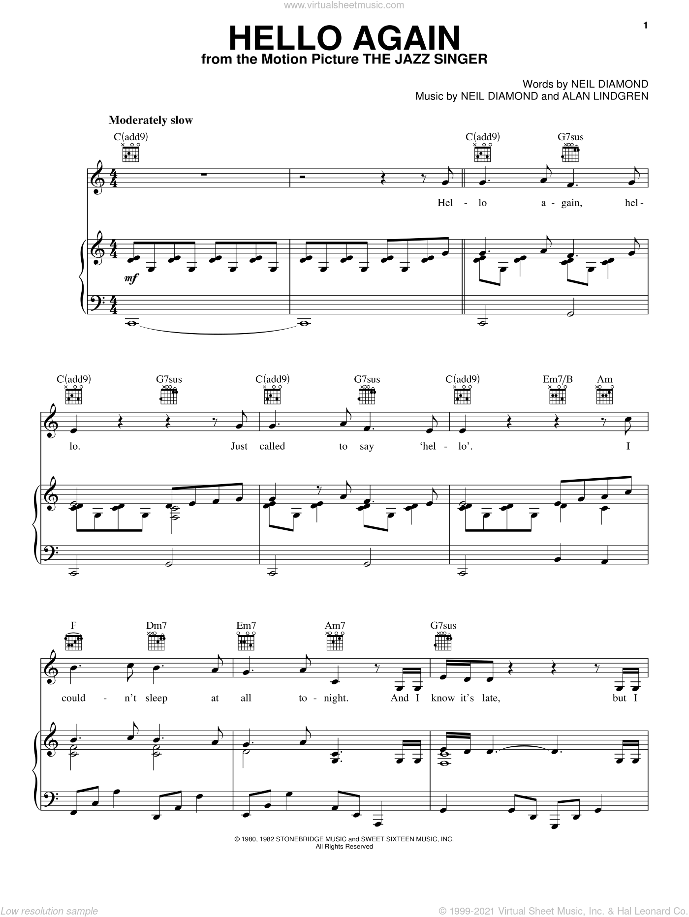 Hello Again sheet music for voice, piano or guitar by Neil Diamond, intermediate voice, piano or guitar. Score Image Preview.