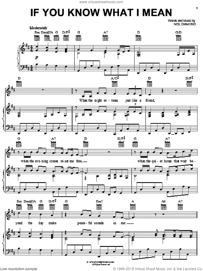 If You Know What I Mean sheet music for voice, piano or guitar by Neil Diamond, intermediate skill level