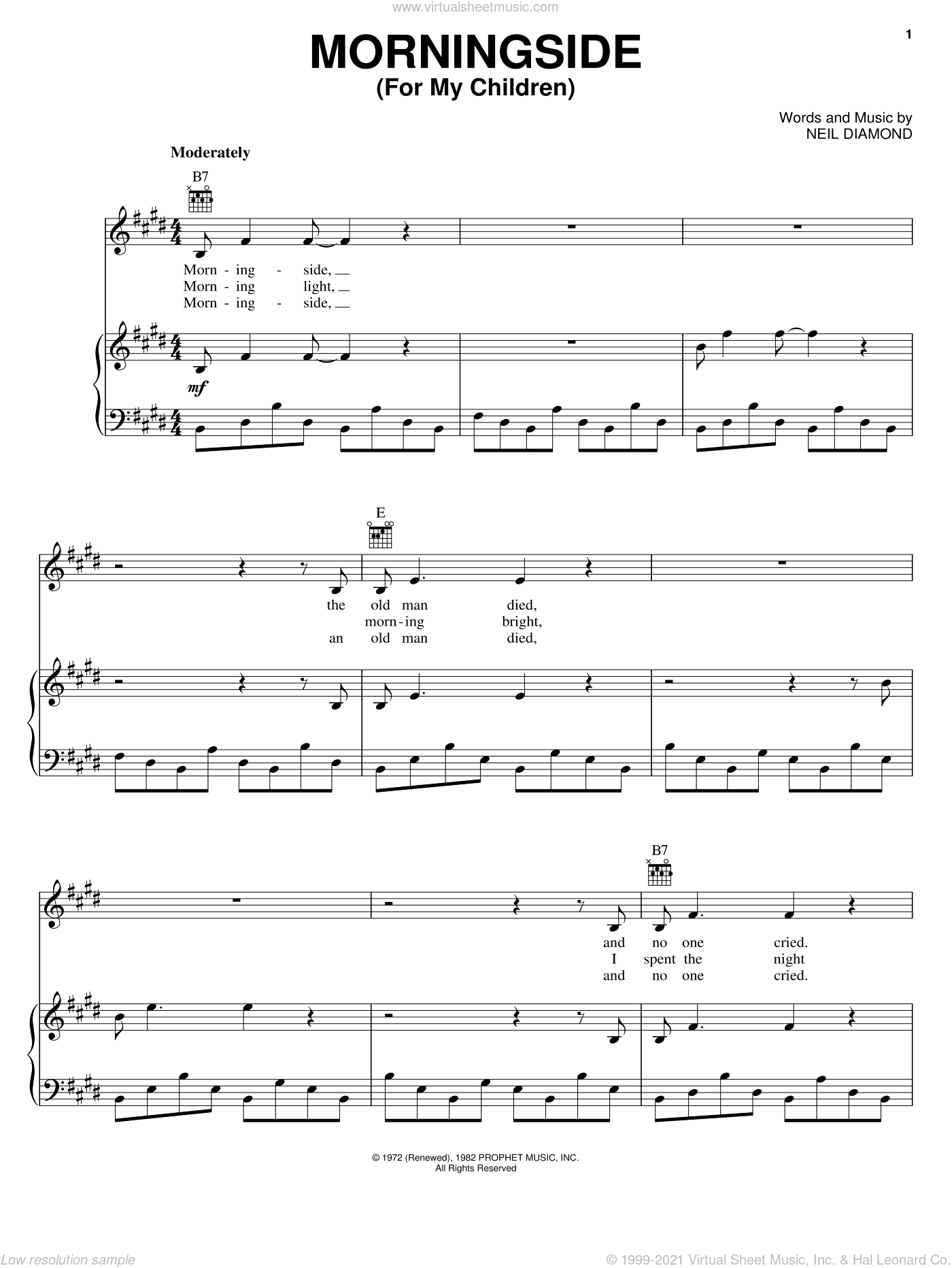 Morningside sheet music for voice, piano or guitar by Neil Diamond, intermediate. Score Image Preview.
