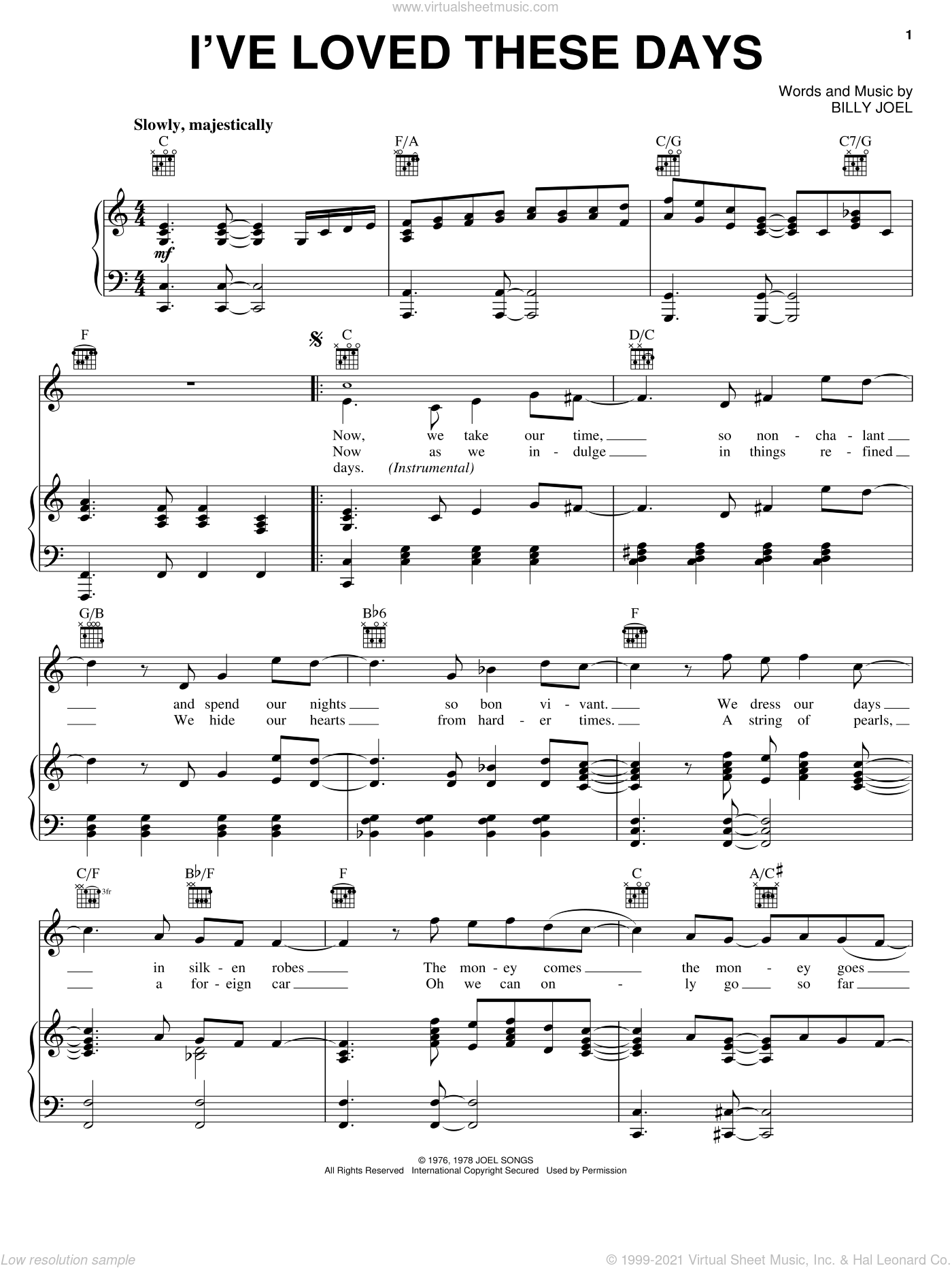 I've Loved These Days sheet music for voice, piano or guitar by Billy Joel, intermediate skill level
