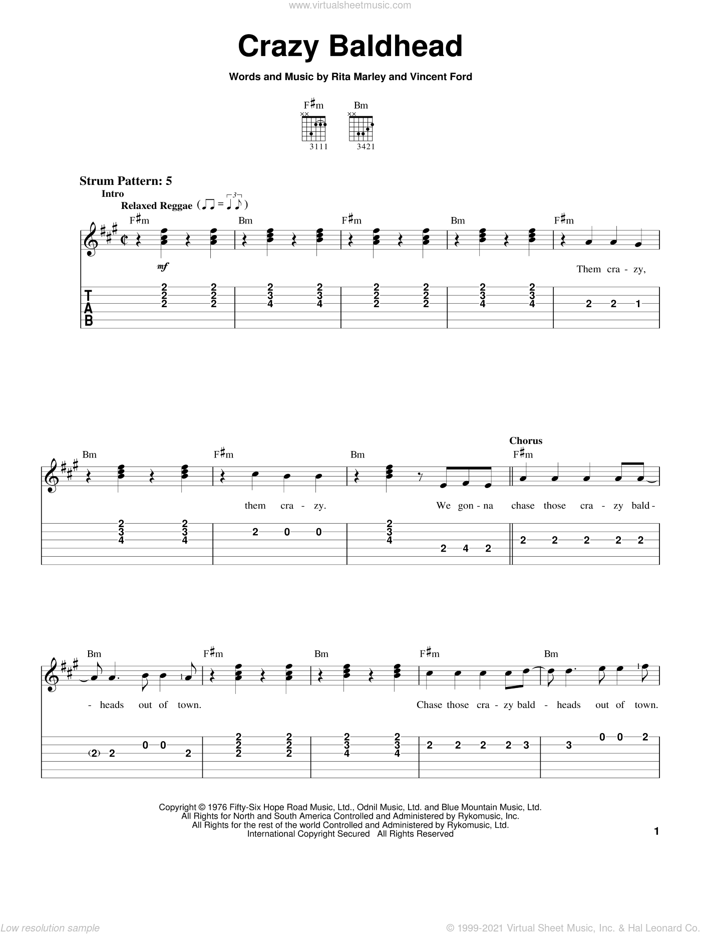 Crazy Baldhead sheet music for guitar solo (easy tablature) by Bob Marley, Rita Marley and Vincent Ford, easy guitar (easy tablature)