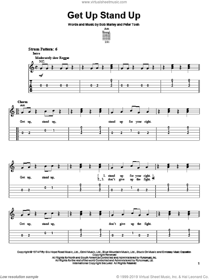 Get Up Stand Up sheet music for guitar solo (easy tablature) by Bob Marley and Peter Tosh, easy guitar (easy tablature)