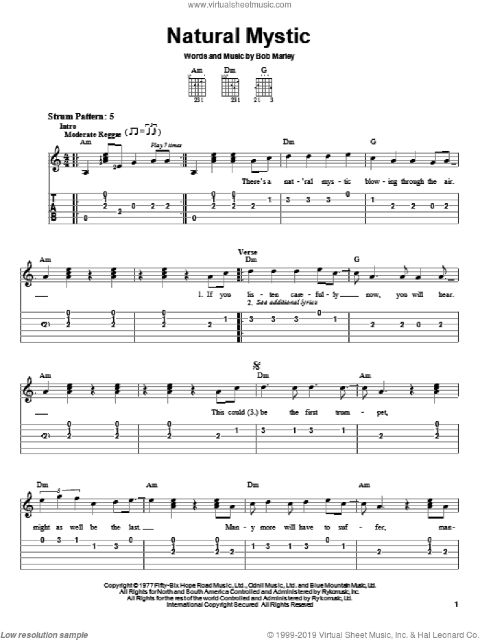 Natural Mystic sheet music for guitar solo (easy tablature) by Bob Marley, easy guitar (easy tablature)