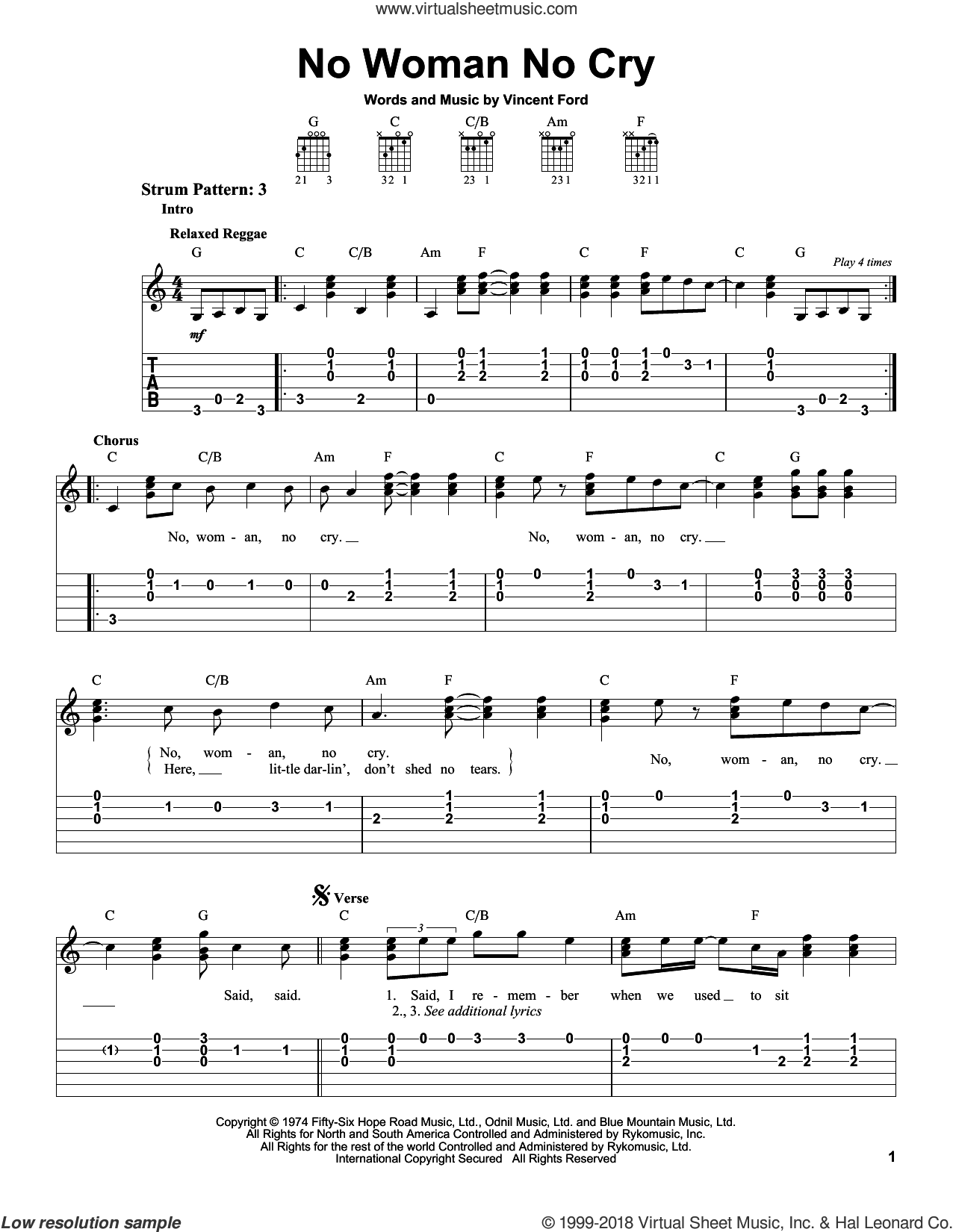 No Woman No Cry sheet music for guitar solo (easy tablature) by Bob Marley and Vincent Ford, easy guitar (easy tablature)