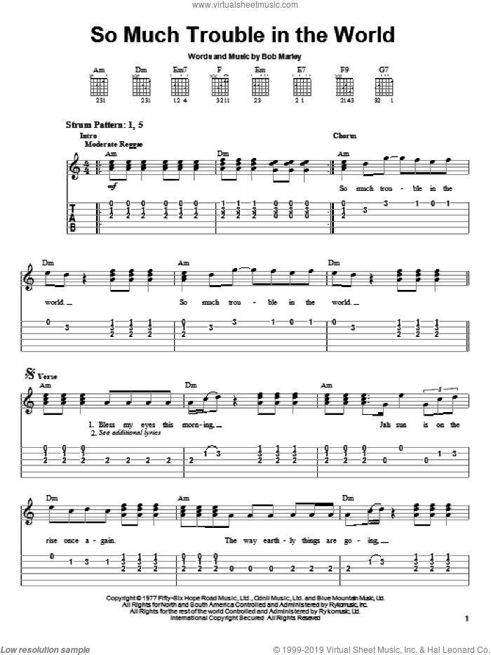 So Much Trouble In The World sheet music for guitar solo (easy tablature) by Bob Marley, easy guitar (easy tablature)