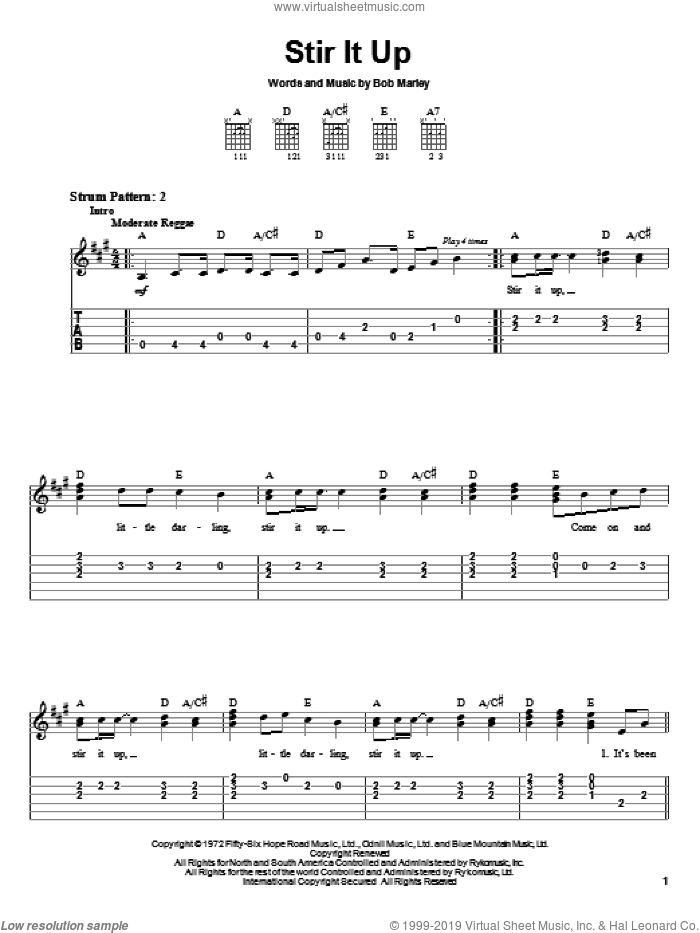 Stir It Up sheet music for guitar solo (easy tablature) by Bob Marley, easy guitar (easy tablature)
