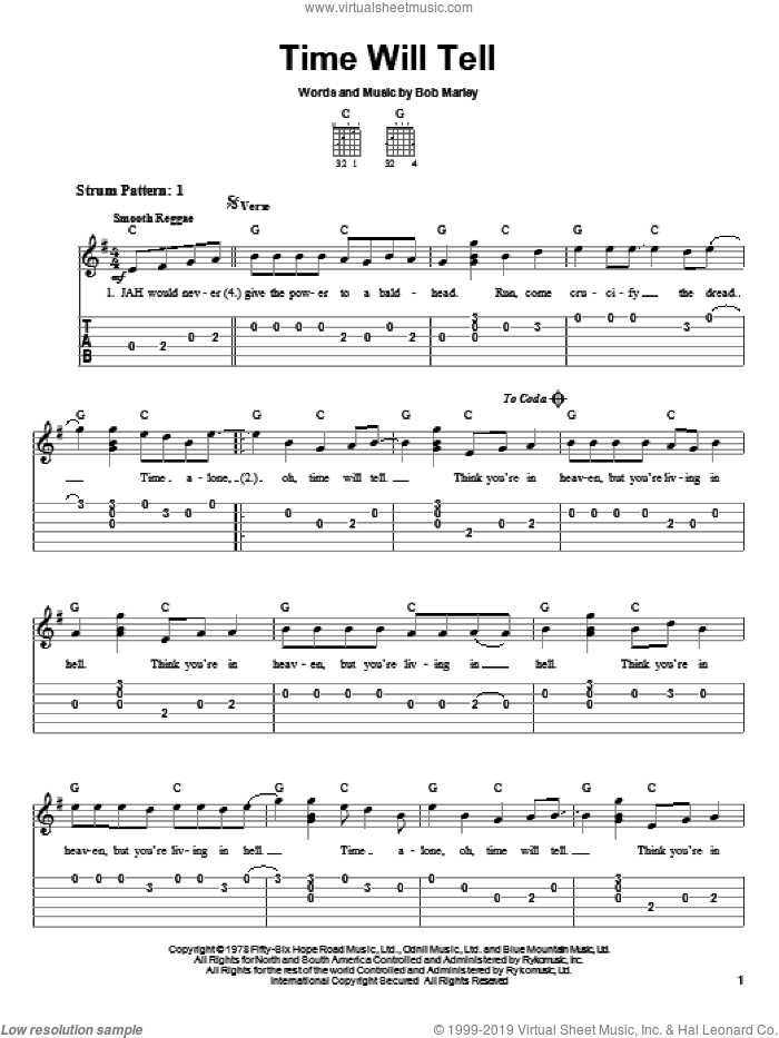 Time Will Tell sheet music for guitar solo (easy tablature) by Bob Marley and The Black Crowes, easy guitar (easy tablature)