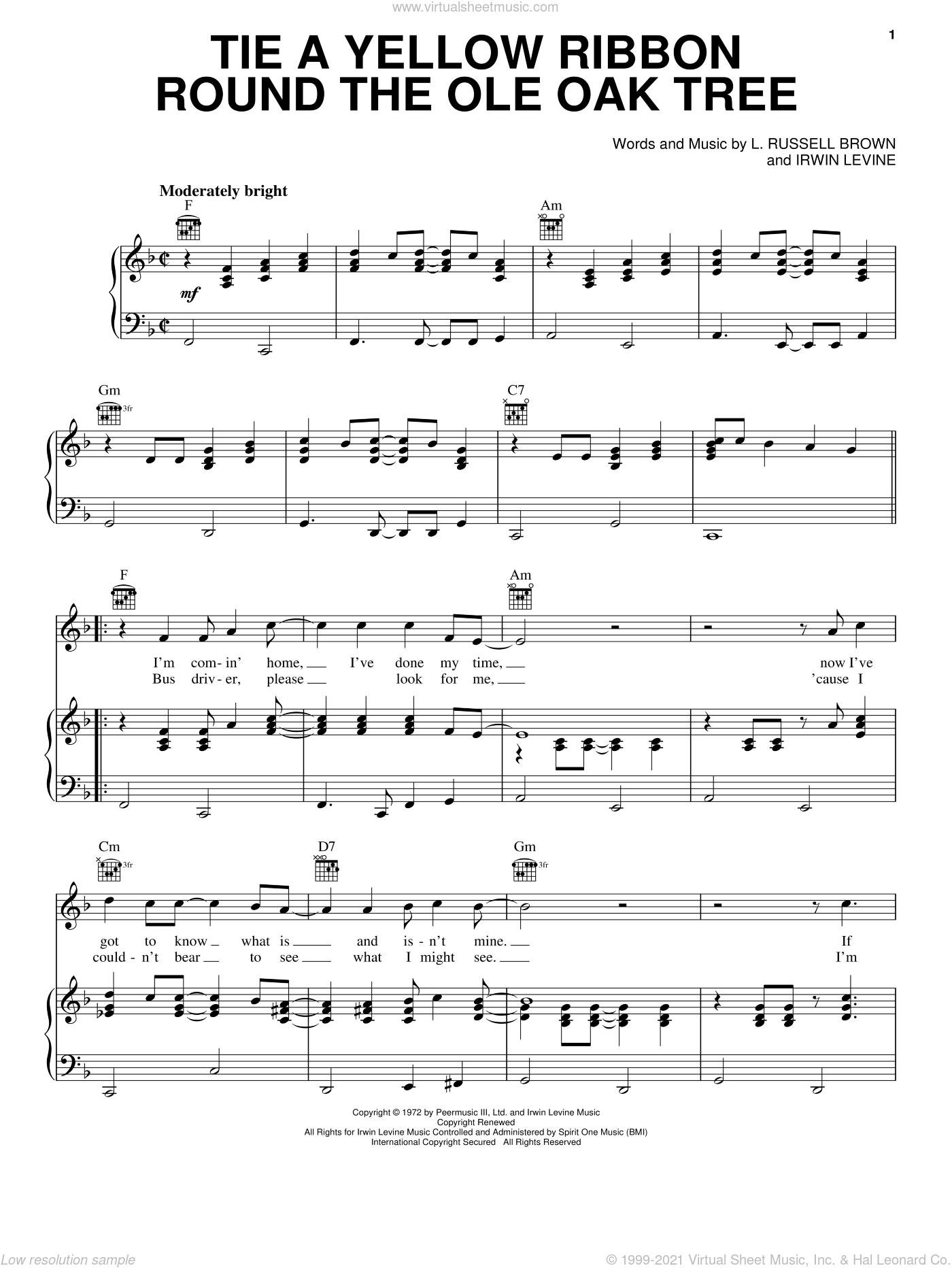 Tie A Yellow Ribbon Round The Ole Oak Tree sheet music for voice, piano or guitar by Tony Orlando, Tony Orlano & Dawn and Irwin Levine, intermediate. Score Image Preview.