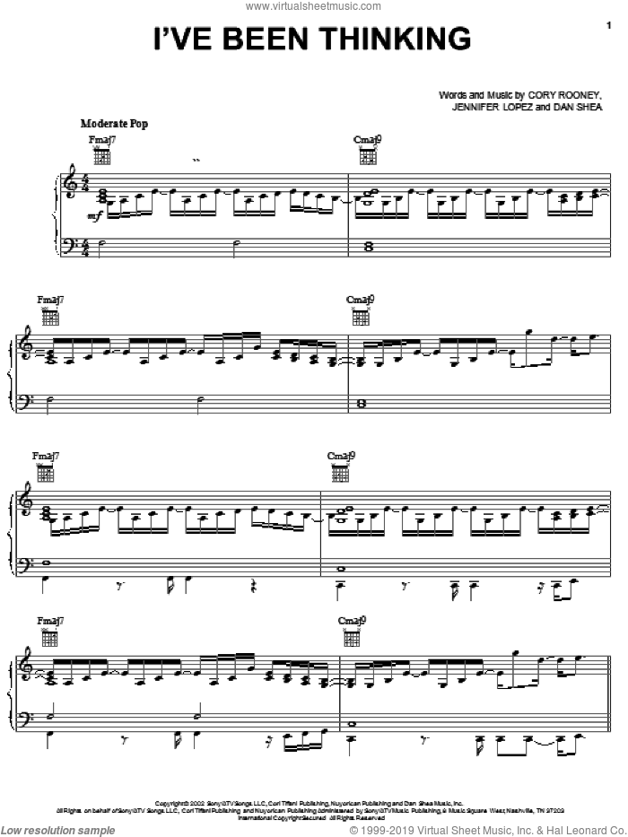 I've Been Thinking sheet music for voice, piano or guitar by Dan Shea