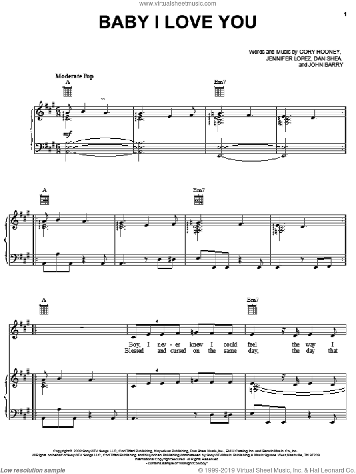 Baby I Love You sheet music for voice, piano or guitar by Jennifer Lopez, Cory Rooney and Dan Shea, intermediate skill level